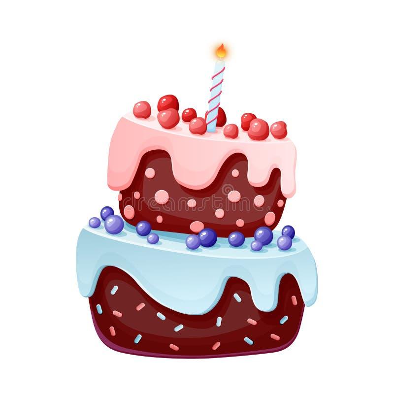 Торт милого мультфильма праздничный с одной свечой Печенье шоколада с вишнями и голубиками для партий, дни рождения o иллюстрация штока