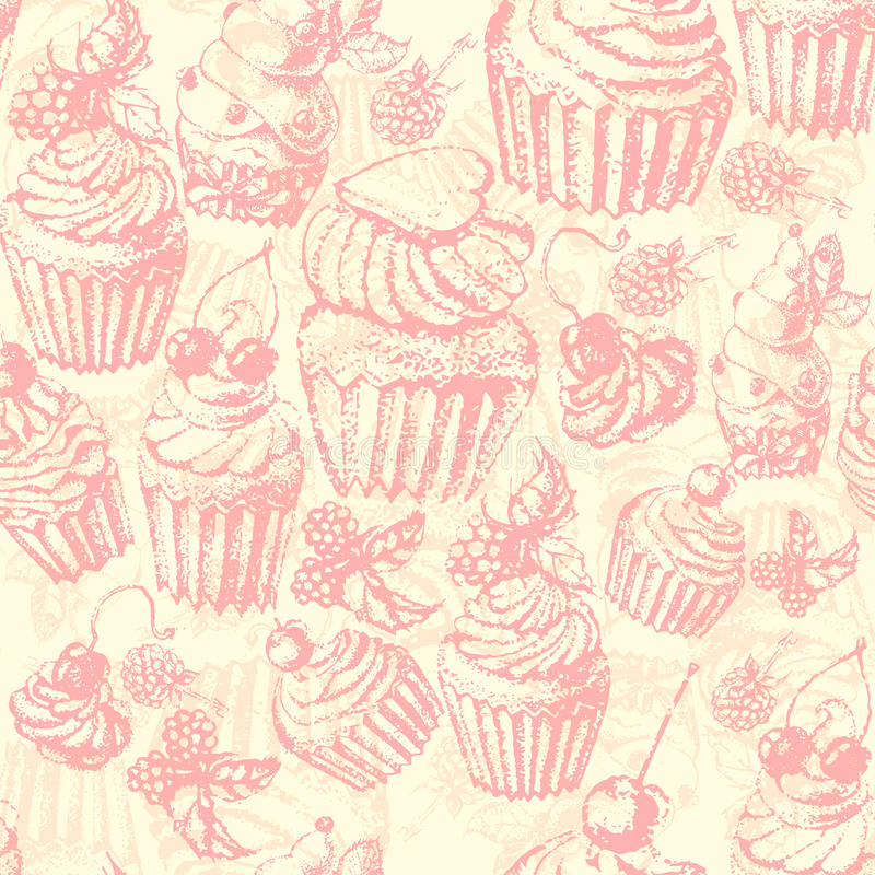 Торт милой безшовной картины сладостный иллюстрация штока