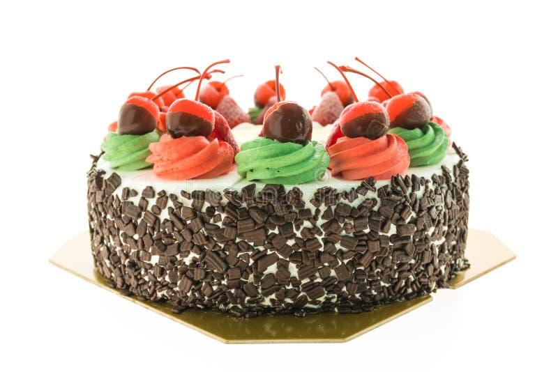 Торт мороженого с темой рождества и веселое на верхней части стоковая фотография rf