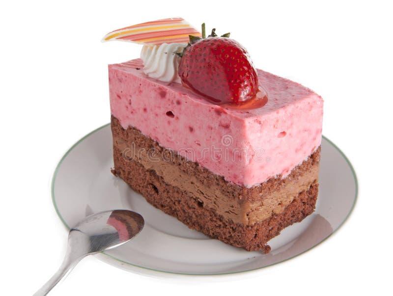 Торт мусса клубники стоковое изображение
