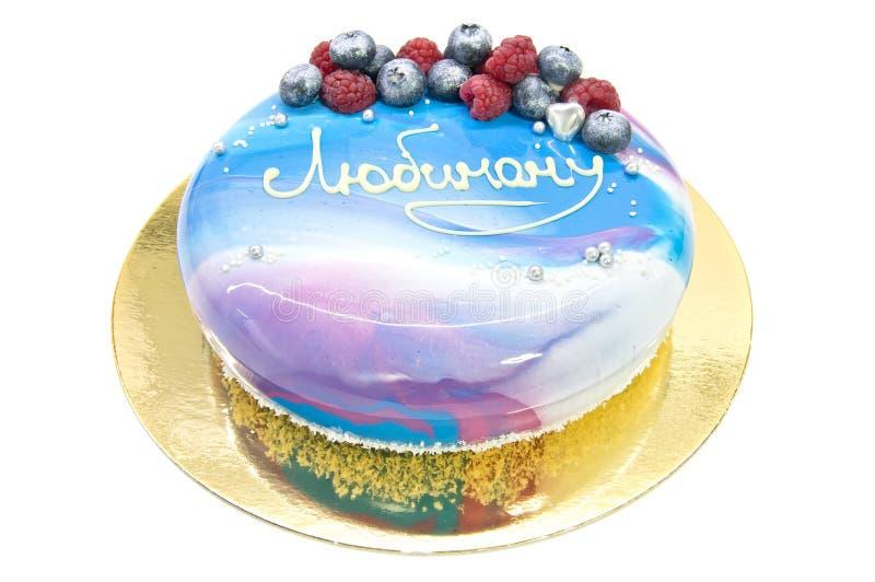 Торт мусса с поливой и текстом зеркала стоковая фотография