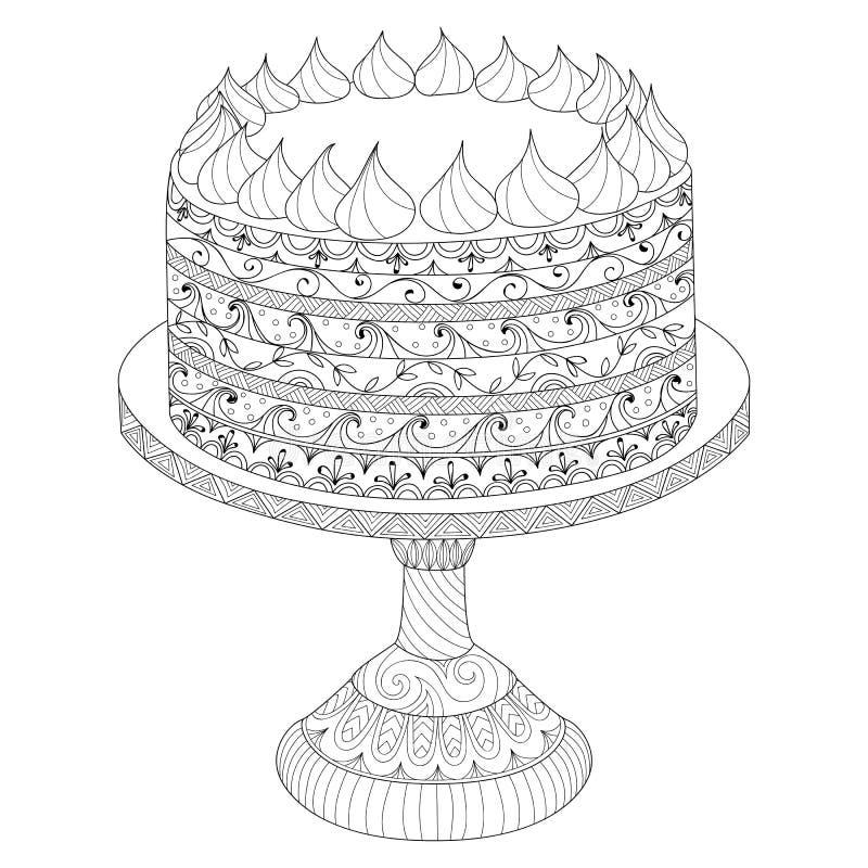 Торт нарисованный рукой для книжка-раскраски иллюстрация вектора