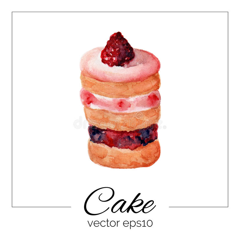 Торт нарисованный рукой с текстурой акварели бесплатная иллюстрация