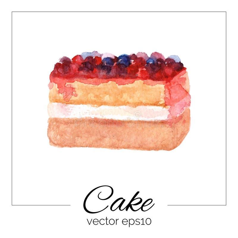 Торт нарисованный рукой с текстурой акварели иллюстрация штока