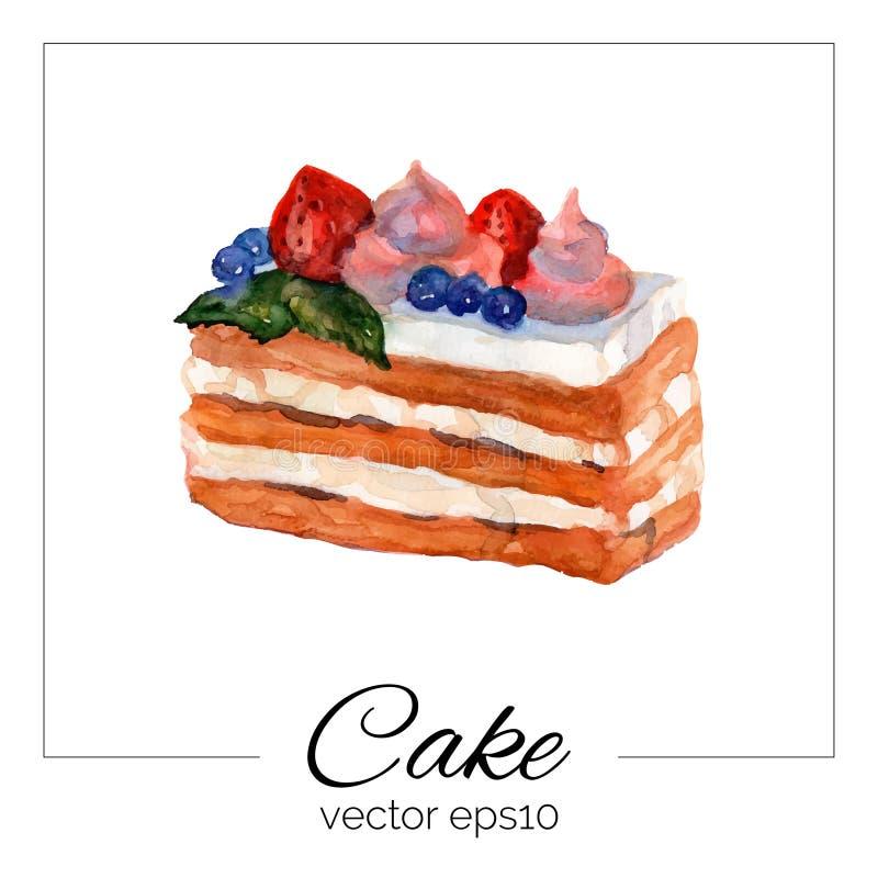 Торт нарисованный рукой с текстурой акварели иллюстрация вектора
