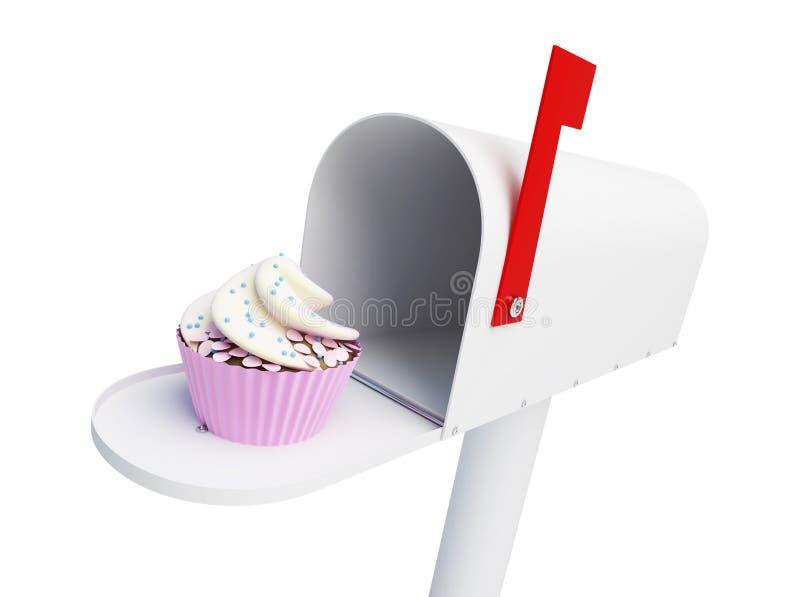 Торт на белой иллюстрации предпосылки 3D, еды почтового ящика перевод 3D иллюстрация вектора