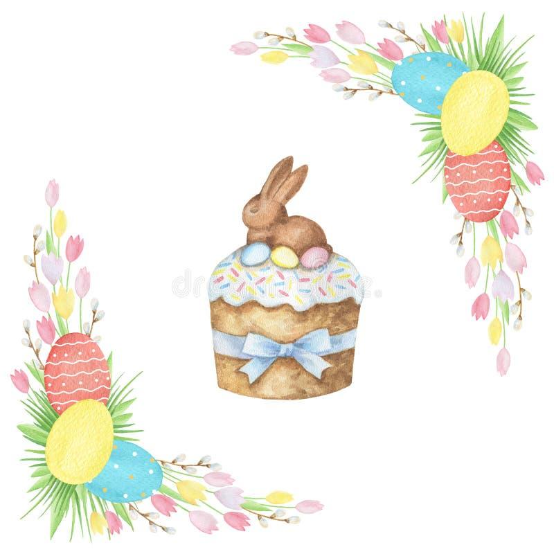 Торт пасхи акварели иллюстрация штока