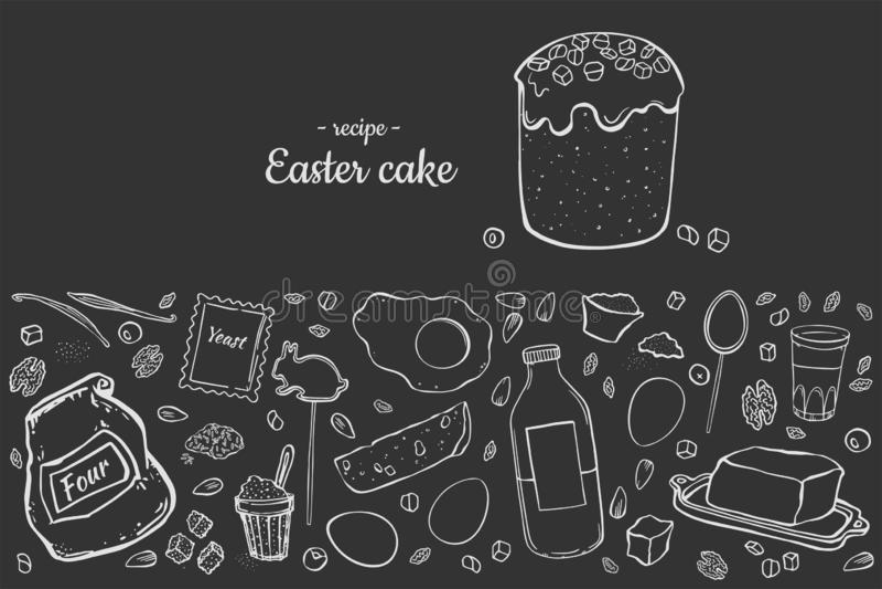 Торт пасхи рецепта иллюстрация вектора