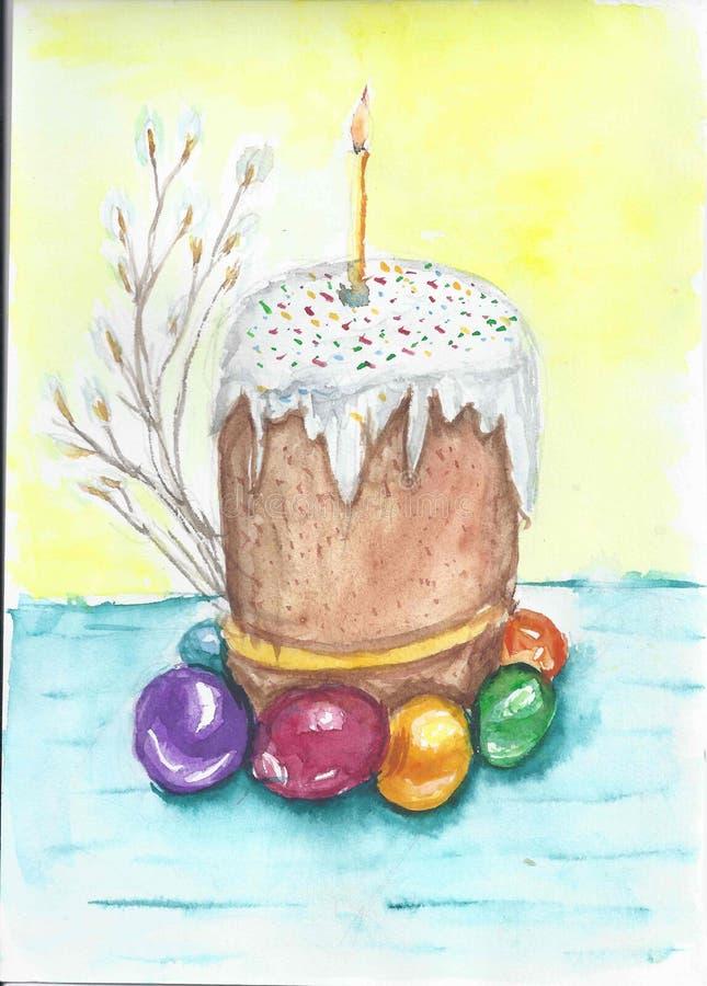 Торт пасхи с яйцом иллюстрация штока