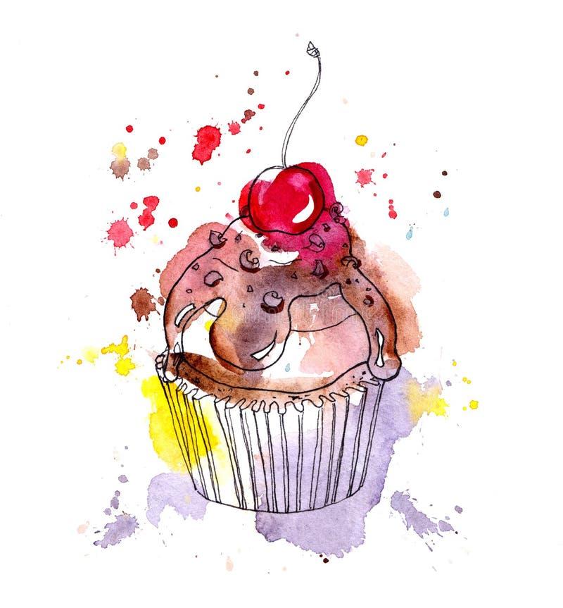 Торт пирожного с шоколадом и вишней акварель бесплатная иллюстрация