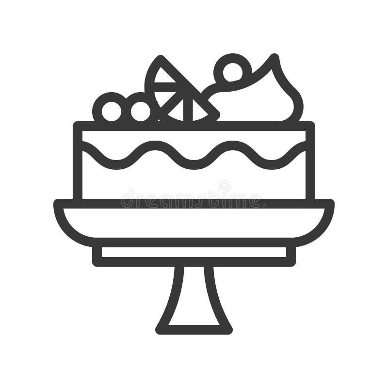 Торт плода на стойке, помадках и значке плана десерта иллюстрация штока