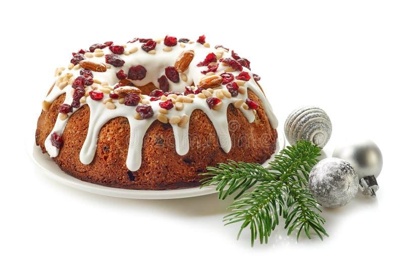 Торт рождества на белой предпосылке стоковое изображение