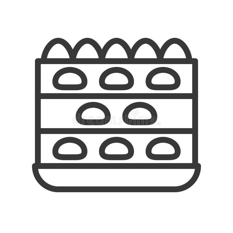 Торт слоя клубники, помадки и значок плана десерта иллюстрация вектора