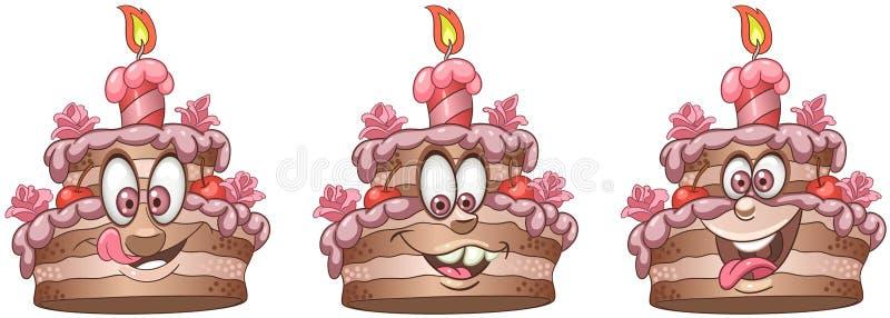 Торт Собрание смайлика Emoji еды иллюстрация штока