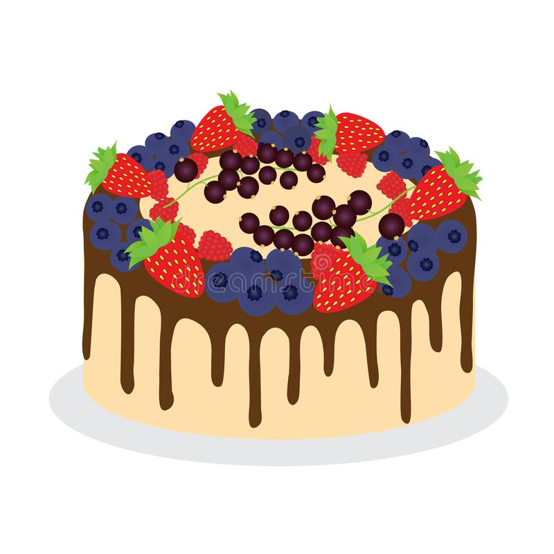 Торт со свежими различными ягодами бесплатная иллюстрация