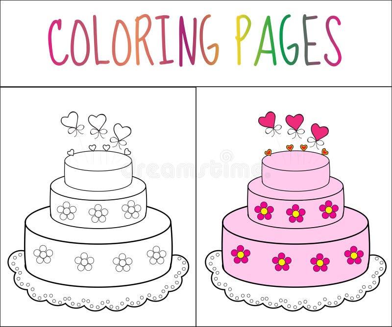 Торт страницы книжка-раскраски Версия эскиза и цвета расцветка для детей также вектор иллюстрации притяжки corel иллюстрация вектора