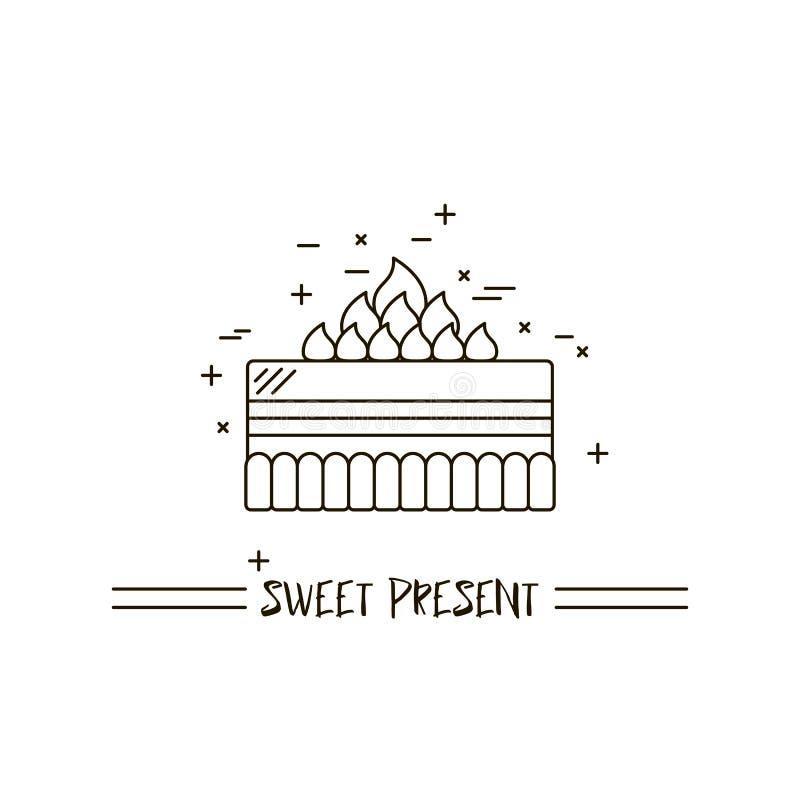 Торт с линией значка вектора свечи конструированное вкусное иллюстрации десерта сладостное С днем рождения еда торжества свадебно бесплатная иллюстрация