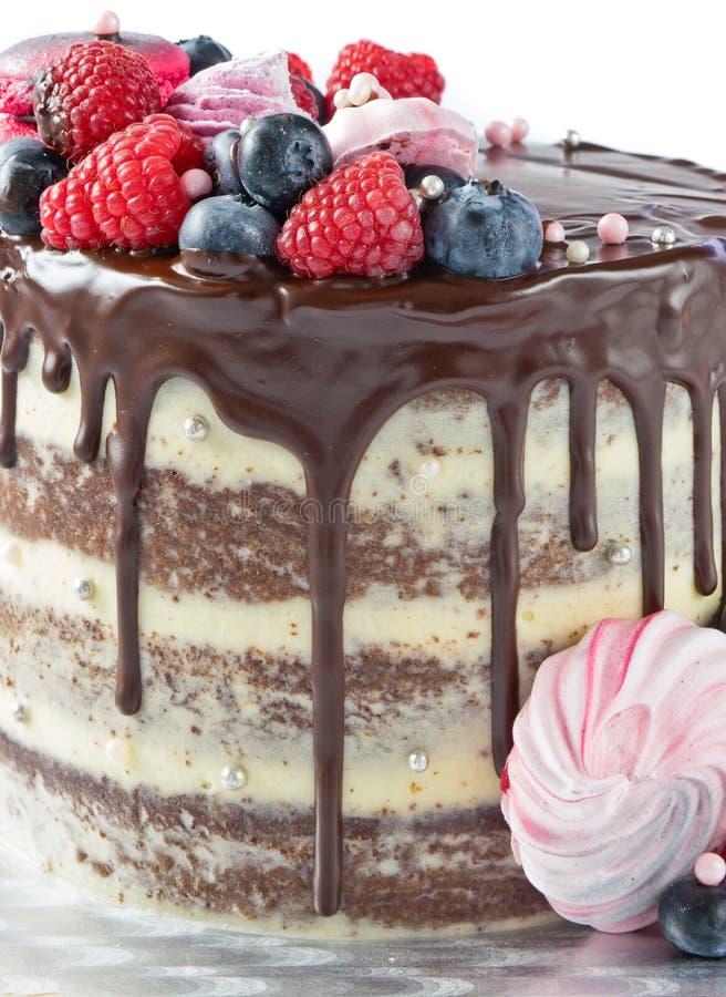 Торт с шоколадом и ягодами стоковая фотография rf