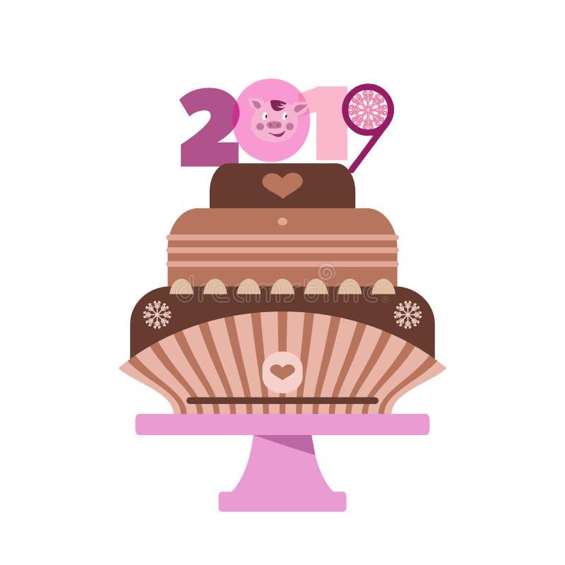 Торт с pig2 бесплатная иллюстрация