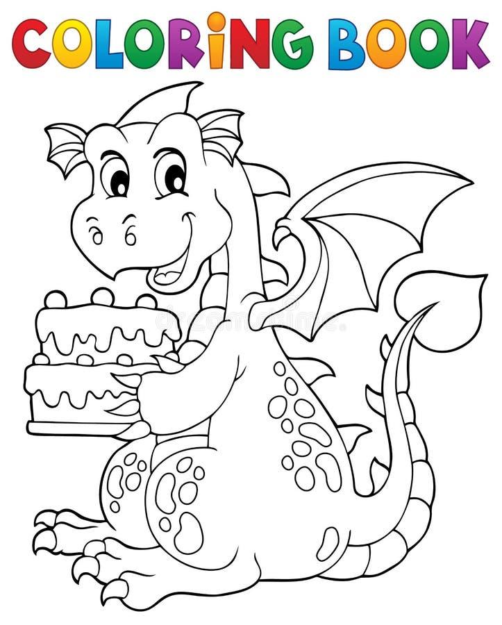 Торт 1 удерживания дракона книжка-раскраски бесплатная иллюстрация