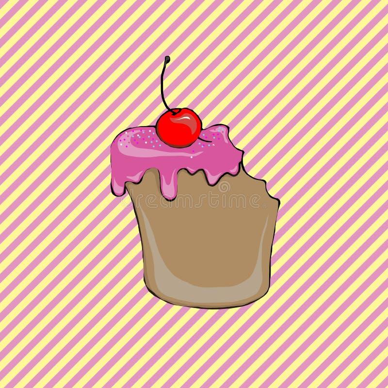 Торт украшенный с вишнями стоковое изображение
