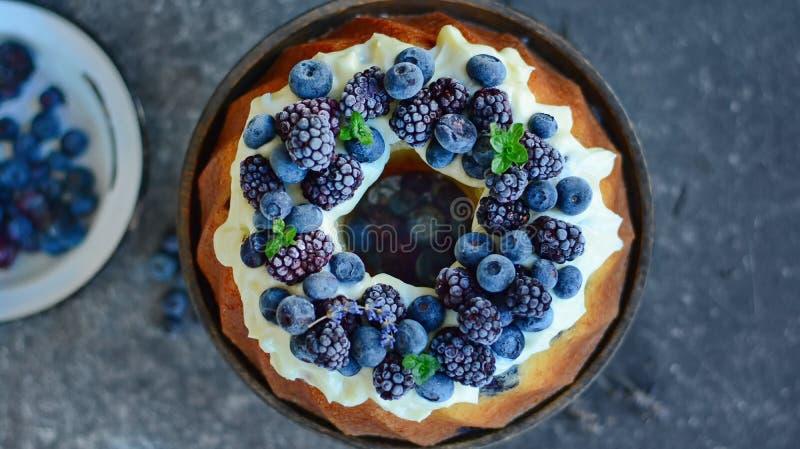 Торт фунта с плодоовощами леса стоковые фотографии rf