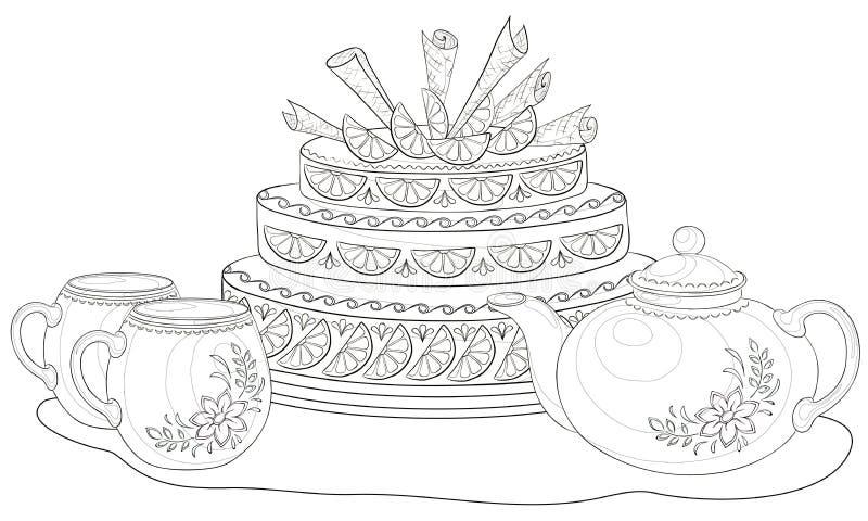Торт, чайник и чашки, контуры иллюстрация штока