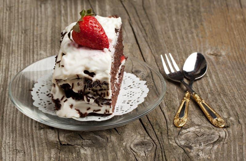 Торт шоколада с клубникой стоковое фото
