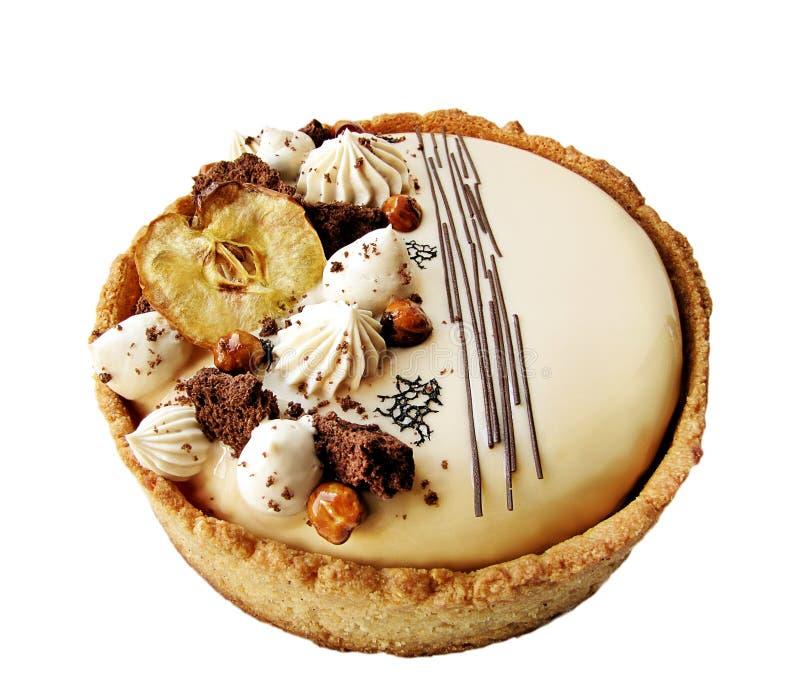 Торт Яблока и карамельки ореховый с границей печенья стоковые изображения