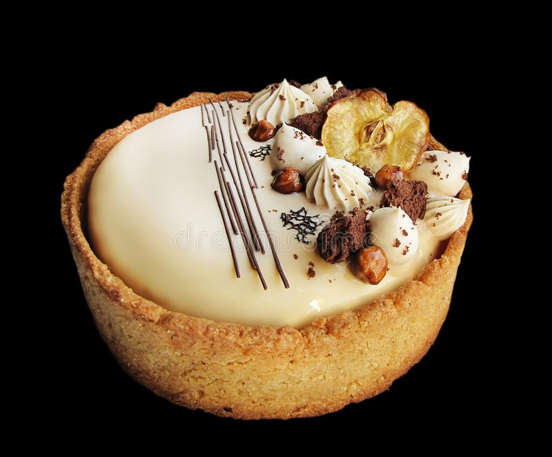 Торт Яблока и карамельки ореховый с границей печенья стоковое фото rf