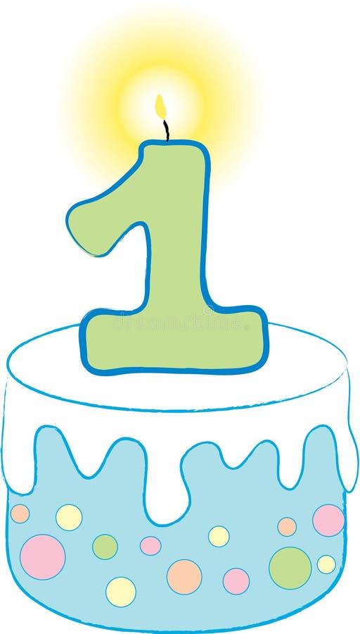торт 1-ого дня рождения голубой иллюстрация штока