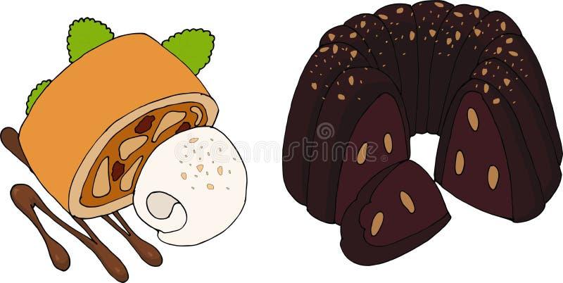 Торт bundt вектора и штрудель яблока иллюстрация вектора