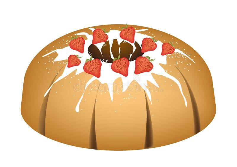 Торт Bundt клубники с поливой сахара бесплатная иллюстрация