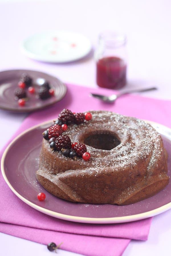 Торт Bundt шоколада с вареньем ягоды леса стоковое фото rf