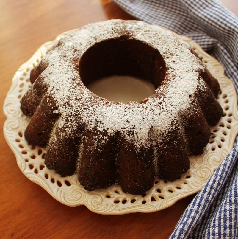 Торт bunt шоколада взбрызнутый с порошком сахара на предпосылке белизны плиты стоковое изображение