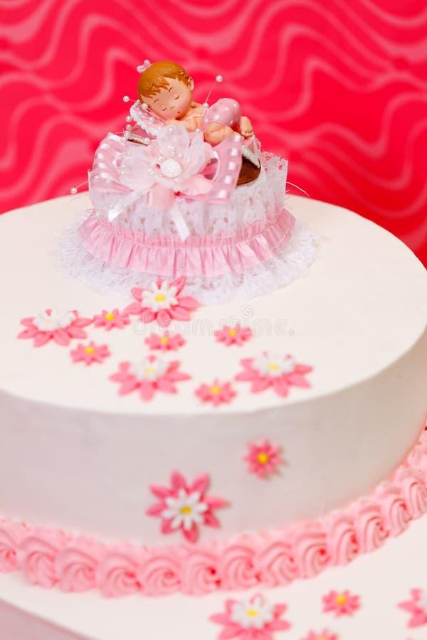 Торт Christening для девушки стоковое фото