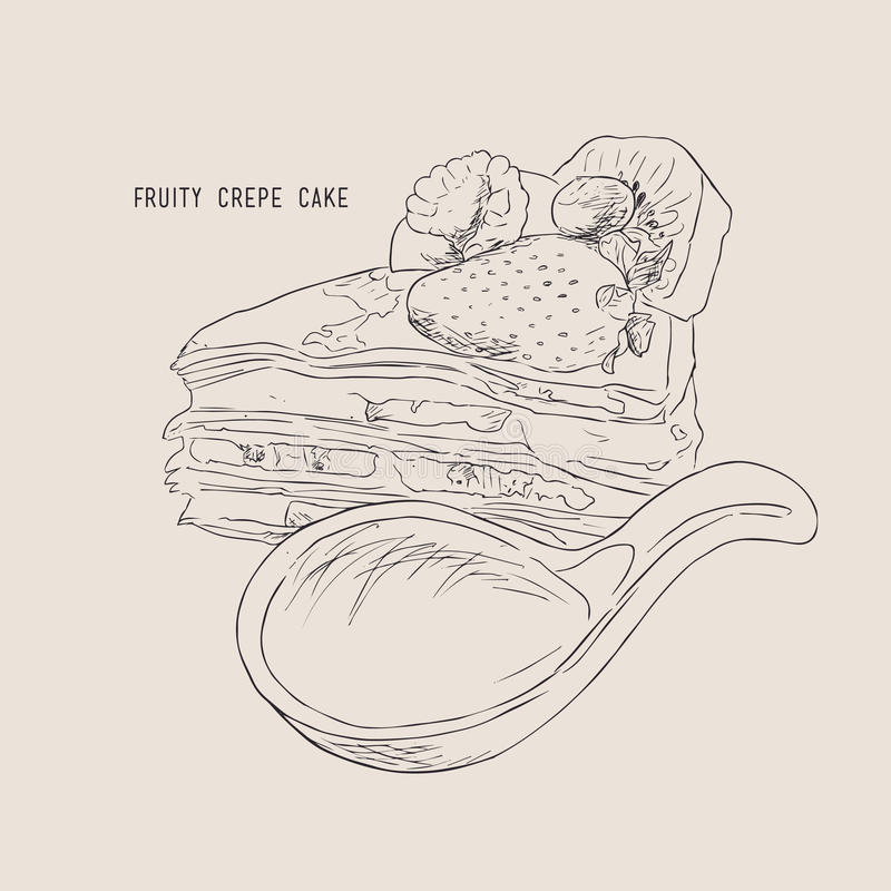 Торт crepe Fruitty, вектор эскиза бесплатная иллюстрация