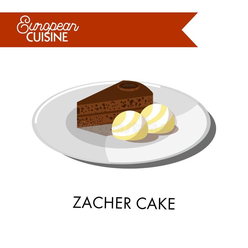 Торт zacher шоколада с шариками мороженого от европейской кухни бесплатная иллюстрация