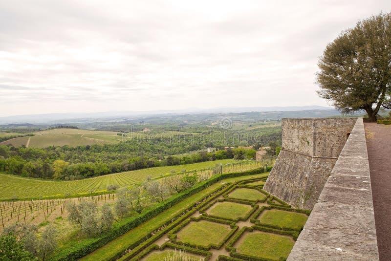 Тосканские виноградники от Castello di Brolio, Тосканы, Италии стоковые изображения rf