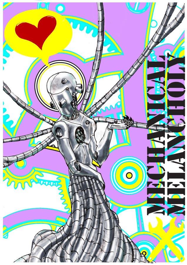 Тоска любовника андроида mecchanical иллюстрация штока