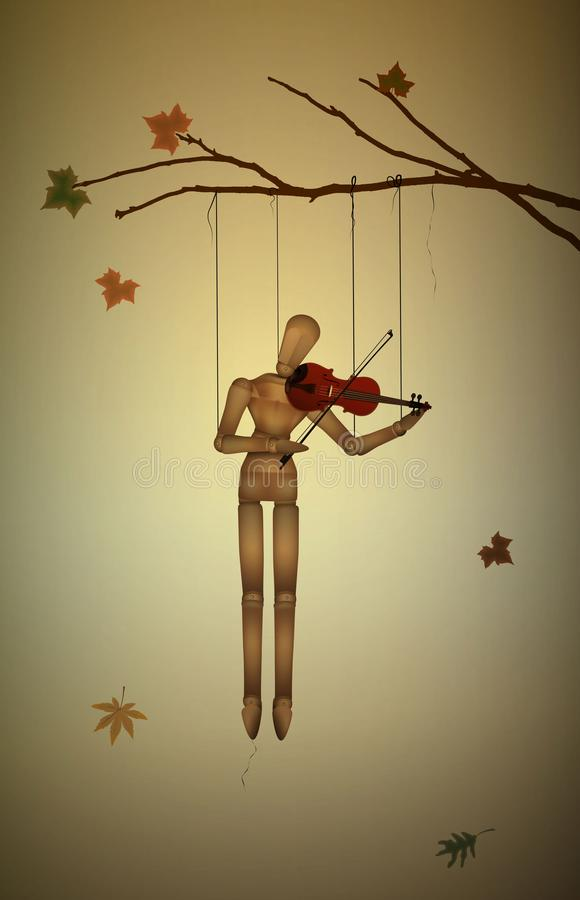 Тоска осени, мелодия в ноябре, марионетка вися на ветви дерева и игра violine, иллюстрация вектора