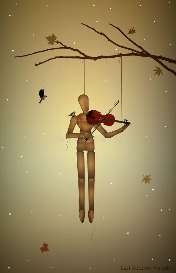 Тоска осени, прошлой осенью мелодия, марионетка вися на ветви дерева и игра violine для птиц синицы, бесплатная иллюстрация