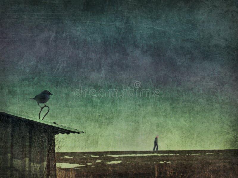 Тоска человека вороны бесплатная иллюстрация