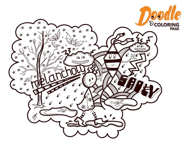 Тоска Doodle книжка-раскраски иллюстрация штока