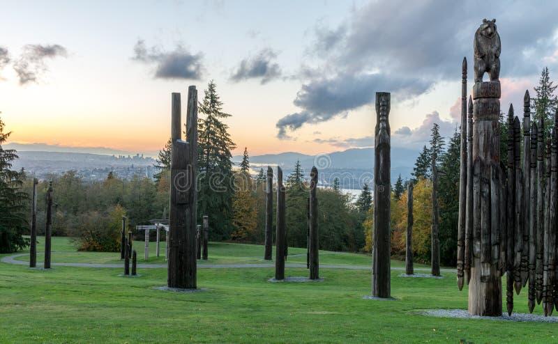 Тотемный столб Ванкувер октябрь 2016 горы Burnaby стоковое изображение rf