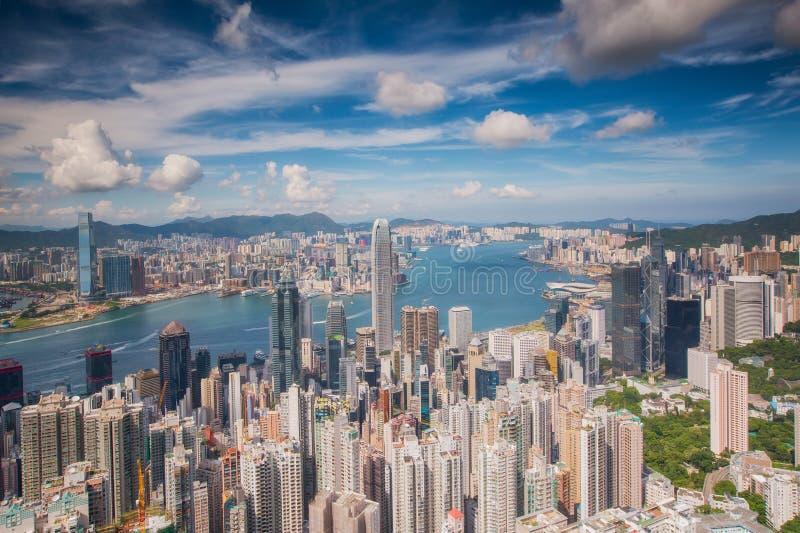 Точка зрения города Гонконга и города Kowloon от вершины vic стоковые фото