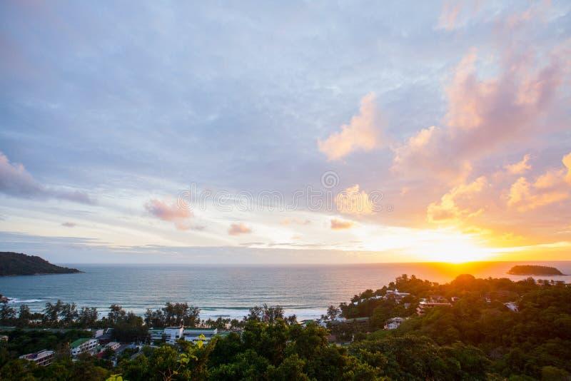 Точка зрения Пхукет захода солнца стоковое фото