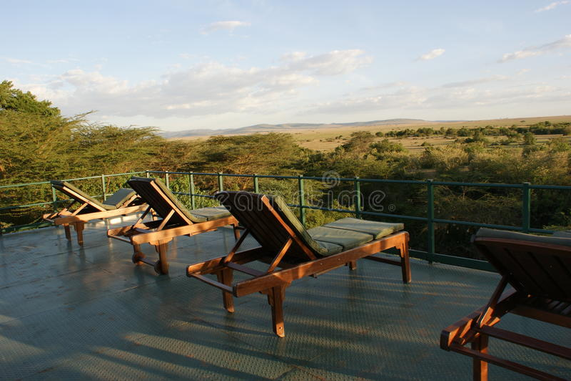 Точка зрения для туристов в Masai Mara стоковая фотография rf