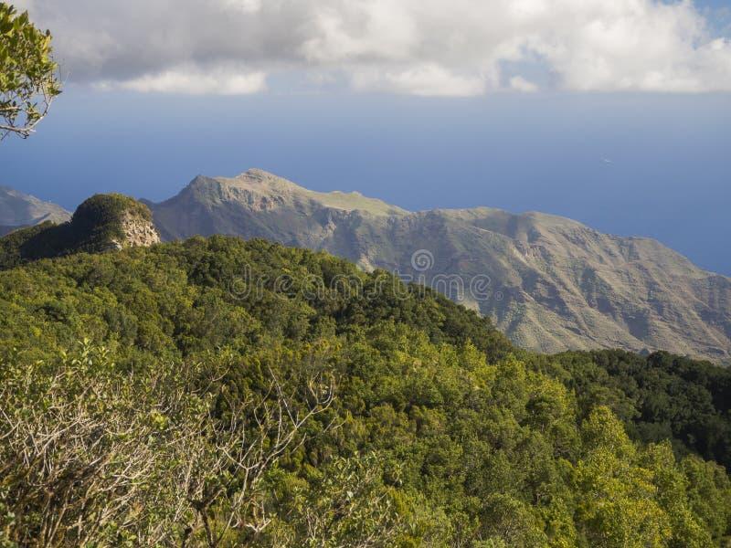 Точка зрения Amogoje с холмами pitoresque зелеными и кустом, острым r стоковые фотографии rf