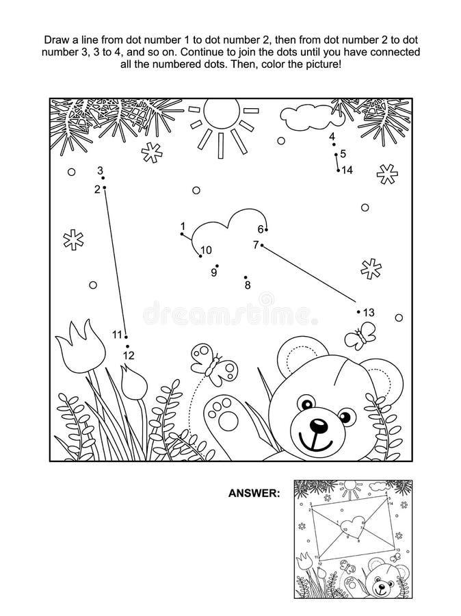 Точка-к-точка дня Валентайн и крася страница с конвертом и плюшевым мишкой иллюстрация вектора